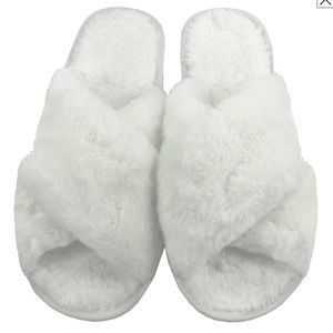 Shoes - White Criss Cross Slippers
